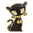 ワッペン 動物 大きい ビッグサイズ スパンコールワッペン アイロン接着 縦22.5cm×横15.5cm 猫 ネコ cat アイロンワ…