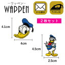 【メール便可】キャラクター ワッペン 刺繍ワッペン アイロン接着 2枚セット ドナルド ディズニー Disney アイロンワ…