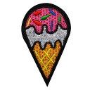 ワッペン 刺繍 アイロン接着 縦8cm×横4.5cm アイスクリーム 食べ物 かわいい アイロンワッペン 手芸 人気【メール便…