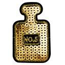 ワッペン スパンコール アイロン接着 縦6.7cm×横4.4cm (小)ゴールド 香水 パフューム No'5 キラキラワッペン アイ…