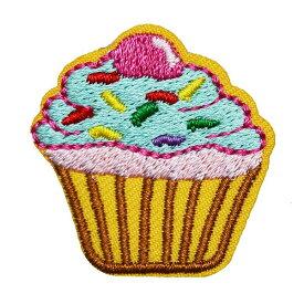 ワッペン 刺繍 アイロン接着 縦3.2cm×横3.1cm スイーツ カップケーキ デザート アイロンワッペン ハンドメイド 手芸【メール便可】