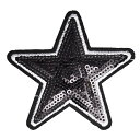 ワッペン スパンコールワッペン アイロン接着 縦7.2cm×横7.5cm ブラック 星 スター ハンドメイド アップリケ 手芸 人…