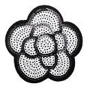 ワッペン スパンコールワッペン アイロン接着 縦6.8cm×横6.8cm カメリア 花 フラワー アイロンワッペン アップリケ …