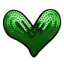 ワッペン スパンコール アイロン接着 縦6.8cm×横8.2cm グリーン ハート キラキラ デコ ダンス 入園 入学 アップリケ …