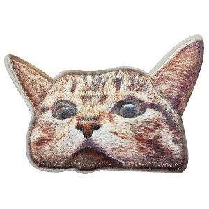 ワッペン 動物 刺繍 アイロン接着 縦6.3cm×横9cm ネコ ねこ 猫 キャット cat アイロンワッペン デコ 入園 入学 かわいい おしゃれ わっぺん アップリケ あっぷりけ wappen