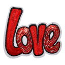 ワッペン スパンコールワッペン アイロン接着 縦7.3cm×横8.2cm 英語 LOVE レッド 赤 刺繍 キラキラワッペン ハンドメ…