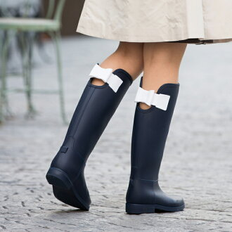 Rain boots long pullover boots Lady's popularity pretty ribbon wedge sole recommended brand fashion heel shortstop Mother's Day rainy season soup boots