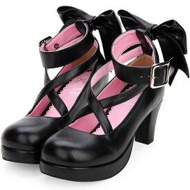 シンプル定番ロリータパンプス ロリータ靴 リボン メイド靴 ロリィタ靴 ブラック 黒 白 ホワイト ロリータジーンズ ストラップパンプス お嬢様 お姫様風 ロリータファッション
