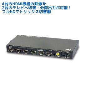 【3/10 最大5千円クーポン&P5倍&最大63%OFF】【楽天1位】外部音声出力対応 4K30Hz対応 4入力2出力 HDMI マトリックス RP-HDSW42A Dolby Atmos DTS:X 対応 セレクター 切替器 分配器 出力 マトリクス スイッチ 光デジタル / 同軸デジタル出力付 手動切替 リモコン付