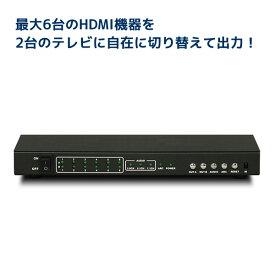 4K60Hz対応 6入力2出力 HDMIマトリックススイッチ RS-HDSW62-4K