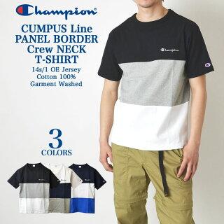 【最大2000円引きクーポン対象商品!】Championチャンピオンパネルボーダーメンズ半袖TシャツC3-P340