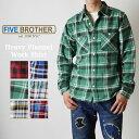 FIVE BROTHER Authentic ヘビーネルワークシャツ ネルシャツ カジュアルシャツ 151740