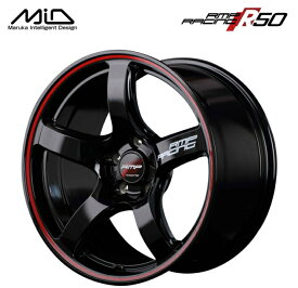 マルカサービス RMP RACING R50 18インチ 8.5J インセット45 5穴 PCD 120 ブラック/リムレッドライン FK2/FK8シビックタイプR スポーク ホイール単品 1本価格 【送料無料】