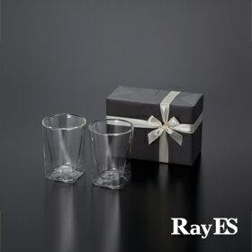 [ギフト] RayES/レイエス ダブルウォールグラス RDS-002 300ml[2個入り・ラッピング・カード] 耐熱二重ガラス/誕生日 結婚祝い 引き出物【RCP】【あす楽】【プレゼント】【楽ギフ_包装選択】【楽天BOX受取対象商品(その他)】