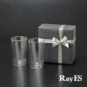 [ギフト] RayES/レイエス ダブルウォールグラス RDS-002L 400ml[2個入り・ラッピング・カード] 耐熱二重ガラス 誕生日 結婚祝い 引き出物【RCP】【あす楽】【プレゼント】【楽ギフ_包装選択】【楽天BOX受取対象商品(その他)】