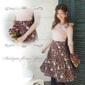 Raylily(レイリリー)アンティークフラワーミディスカート花柄スカートミディ丈小花柄スカート
