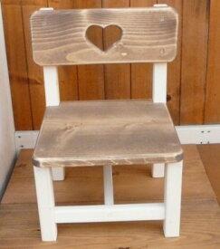 ツートンのカントリーキッズチェアー (幅32cm×奥行28cm) RKI-3子供イス 椅子 花台 フラワー台 小さい木製チェアー 無垢材 ハート木工品 アメリカンカントリー調白色 丸角 角が丸い おしゃれ 可愛い カントリー家具 rki3