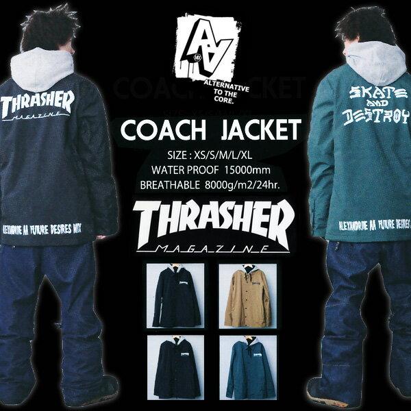 15-16モデル AA HARD WEAR COACH JACKET 【THRASHER】コーチジャケット ダブルエー 【スラッシャー スノーボード ウエア 15-16 】【日本正規品】715005