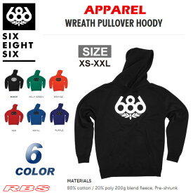 686 パーカー WREATH PULLOVER HOODY BLACK/KELLY GREEN/ORANGE/PURPLE/RED/ROYAL 【686 ウェア】【プルオーバー フードパーカー】【日本正規品】
