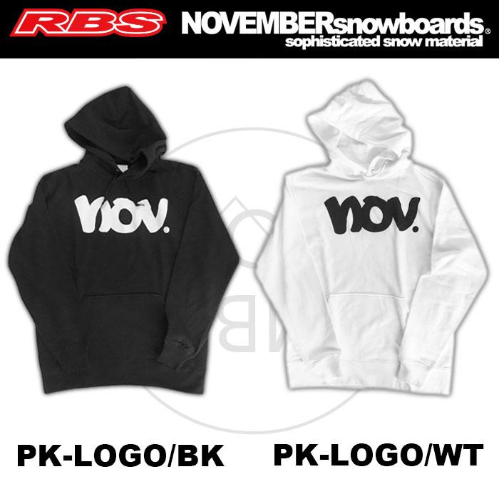 NOVEMBER パーカー PK-LOGO【カラー ブラック ホワイト】【ノーベンバー スノーボード 18-19】