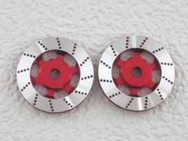 【ネコポス対応】KN企画/KN-WH03RD/【RC926】アルミブレーキディスクタイプホイールハブ(レッド/2枚入) 5mm厚
