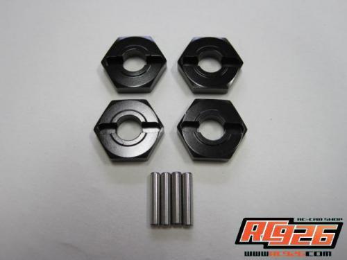 【ネコポス対応】KN企画/KN-WH06BK/【RC926】 アルミホイールハブ薄型(3mm厚) 4個入 ブラック