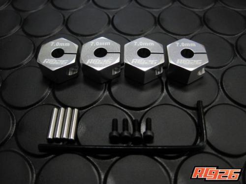 【ネコポス対応】KN企画/KN-WH09SV/【RC926】 アルミクランプ式ホイールハブ(7mm厚) 4個入/シルバー
