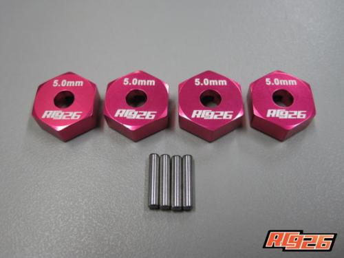 【ネコポス対応】KN企画/KN-WH10PI/【RC926】アルミホイルハブピンタイプ(タミヤ用) 5mm厚 ピンク