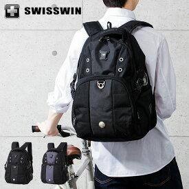 SWISSWIN リュック リュックサック ビジネスリュック メンズ SW9002N スイスウィン ブラック グレー 撥水 PC対応【ポイント10倍】【送料無料】
