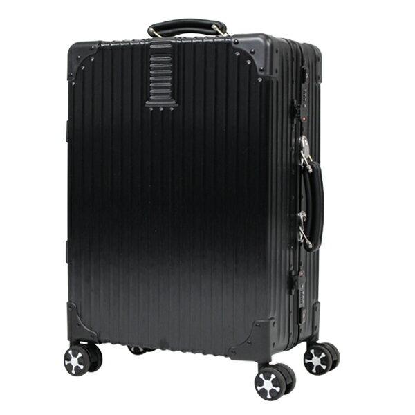 アルミフレームスーツケース ブラック シルバー トランク キャリーバッグ 軽量 TSA ダブルキャスター レザー製ハンドル 40L(代引不可)【ポイント10倍】【送料無料】【smtb-f】
