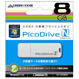 GREENHOUSE USBフラッシュメモリ ピコドライブN 8GB GH-UFD8GN(代引き不可)【ポイント10倍】【inte_D1806】