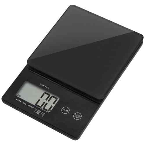 DRETEC キッチンスケール デジタルスケール ストリーム 2kg はかり 0.1g単位ではかれるシンプルな高精度スケール KS-245BK【ポイント10倍】