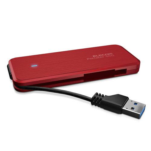 エレコム 外付けSSD ポータブル ケーブル収納対応 USB3.1(Gen1)対応 120GB レッド ESD-EC0120GRD(代引不可)【ポイント10倍】【送料無料】