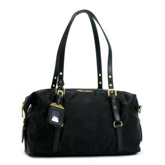 Prada PRADA shoulder bag NYLON JACQUARD+SAFFI BL 0600 NERO BK