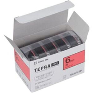 (業務用10セット) キングジム テプラ PROテープ/ラベルライター用テープ 【幅:9mm】 5個入り カラーラベル(赤) SC9R-5P ×10セット