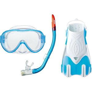 AQA(アクア) マスク&スノーケル&フィン3点セット AQAスノーケリング3点セット ライトM クリスタルサックス KZ9212