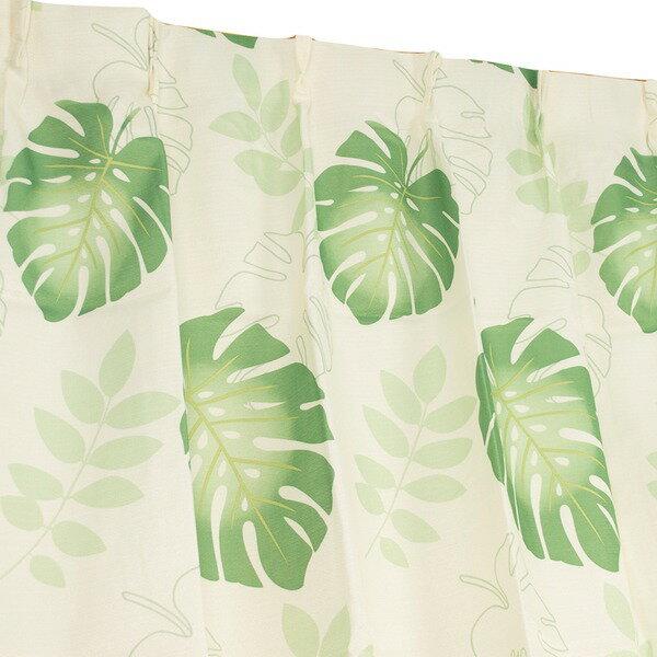 8種類から選べる4枚組デザインカーテン 100×178cm グリーン ミラーレース モンステラ柄 ボタニカル柄 洗える モンステラ【ポイント10倍】
