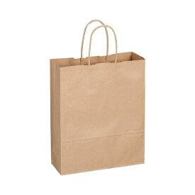 (まとめ) TANOSEE 紙手提袋 丸紐 小 ヨコ260×タテ320×マチ幅100mm 茶 1パック(50枚) 【×5セット】