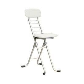 折りたたみ椅子 【1脚販売 ホワイト×シルバー】 幅35cm 日本製 高さ6段調節 スチールパイプ 【代引不可】