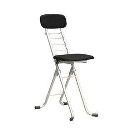 折りたたみ椅子 【1脚販売 ブラック×シルバー】 幅35cm 日本製 高さ6段調節 スチールパイプ 【代引不可】