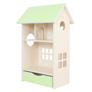 ドールハウス型収納棚 ドールハウスシェルフ ライムグリーン 【完成品】【代引不可】