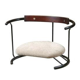 あぐら椅子/正座椅子 【スウィング背もたれ付き モスホワイト×ブラック】 幅60cm 耐荷重80kg 日本製 スチール 【代引不可】