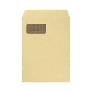 (まとめ)TANOSEE 窓付封筒 裏地紋付 A4テープのりなし 85g/m2 クラフト(窓:グラシン紙)1パック(100枚)【×5セット】