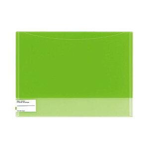 (まとめ)コクヨ クリヤーホルダー(2ポケットエンベロープ)A4 黄緑 フ-5770YG 1セット(5枚)【×5セット】