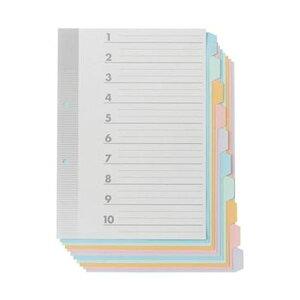 (まとめ)TANOSEE 見出しカード A4タテ2穴 5色10山+扉紙 1パック(5組)【×20セット】
