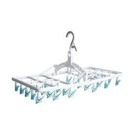 (まとめ)アイセン 便利フック快適角ハンガー30ピンチ ホワイト/ブルー LK421 1個【×10セット】