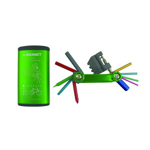 SIGNET シグネット バイク用マルチツールセット フォールディングツール カラーケース付 グリーン 22083