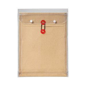 (まとめ) ピース マチヒモ付ビニール保存袋 レザック 角2 184g/m2 茶 912 1枚 【×30セット】
