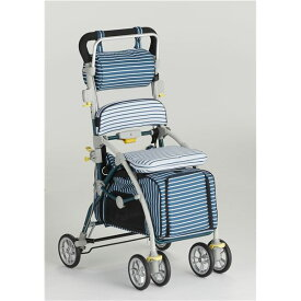 フランスベッド ペットとお散歩できるペットカート ブレーキ 杖ホルダー付き ラクティブペット しま ブルー【ポイント10倍】