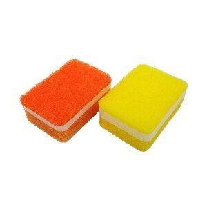 (まとめ)オーエ 泡キュット ミニスポンジ オレンジ、イエロー 2個入り 50829 (食器用スポンジ) 【200個セット】
